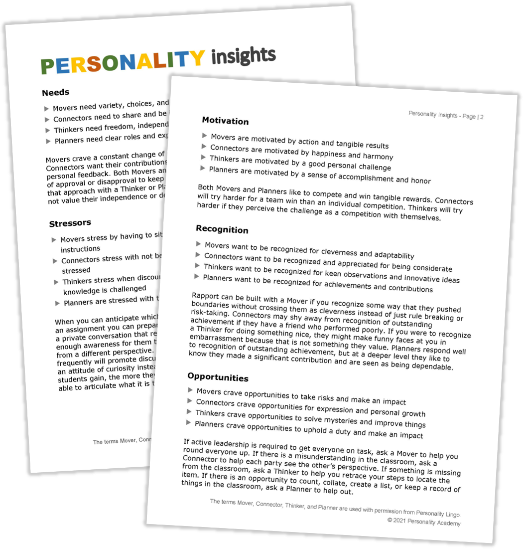 insights into student personality